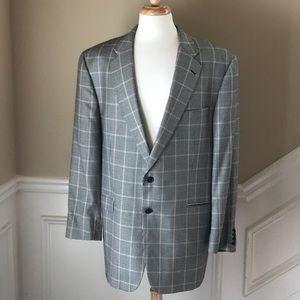 Burberry Men Houndstooth Wool Blend Blazer 47 XL